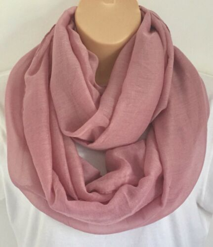 New For Spring /& Summer Dusky Pink Circle Loop Scarf Infinity Snood