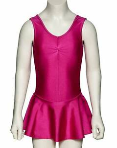 Girls-Lycra-Ballet-Dance-Leotard-With-Skirt-Dress-All-Colours-KDR005-By-Katz