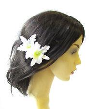 2 x White Tropical Orchid Flower Hair Grips Clips Hawaiian Bobby Pins Boho 1770