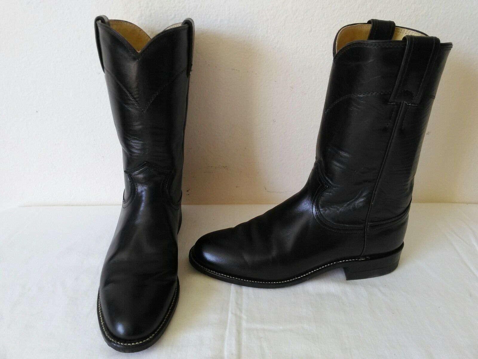 High quality JUSTIN lady's Black Black Black leather cowboy western roper boots Size 6 B cac3a2