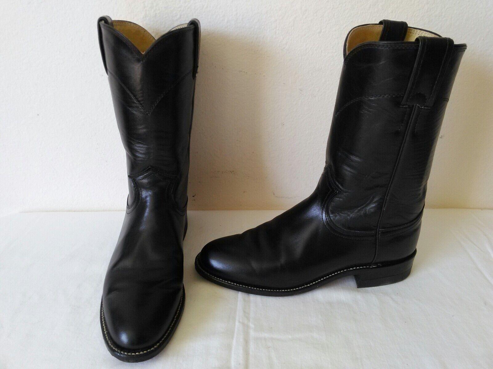 High quality JUSTIN lady's nero leather cowboy western roper stivali Dimensione 6 B