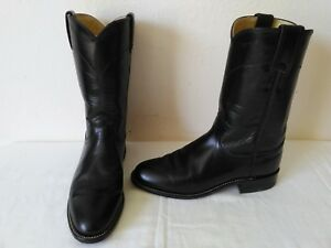 High quality JUSTIN lady's schwarz Leder Leder schwarz cowboy western roper Stiefel 91a777