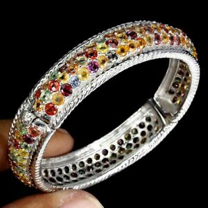 Round Sapphire Multi-Color 3mm 14K White Gold Plate 925 Sterling Silver Bangle