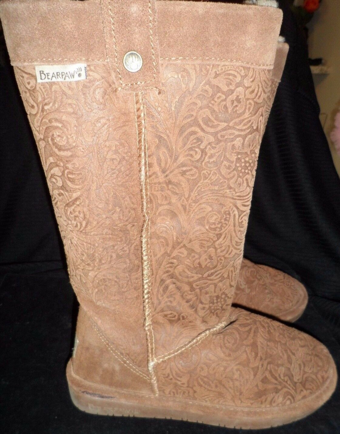 Bearpaw 6 Boots Brown Chestnut Paisley Floral Suede Sheepskin Wool Warm Tall EUC