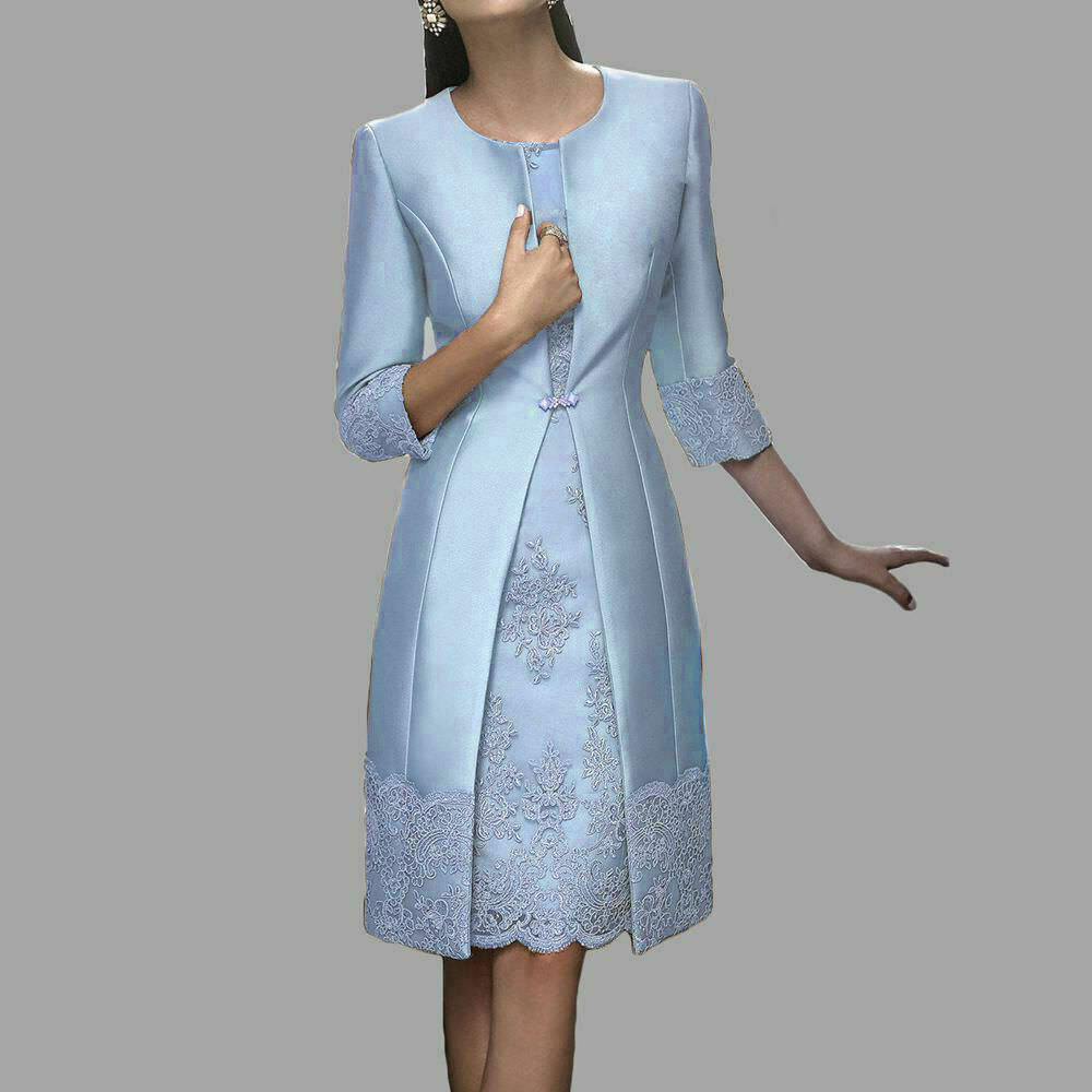Details About Blue Grey Mother Of The Bride Dresses With Jacket Wedding Guest Gowns Plus Size