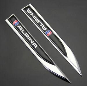 2pcs-3D-Metall-Auto-Fenders-Schriftzug-Aufkleber-Emblem-fuer-Dolch-ALPINA-sports