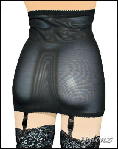 NYLONZ Viva Vintage Style 6 Strap Girdle Open Bottom Black
