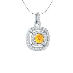 1-45-CT-Big-Solitaire-Citrine-amp-Side-DVVS1-Diamond-Pendant-14k-White-Gold-GP-Her