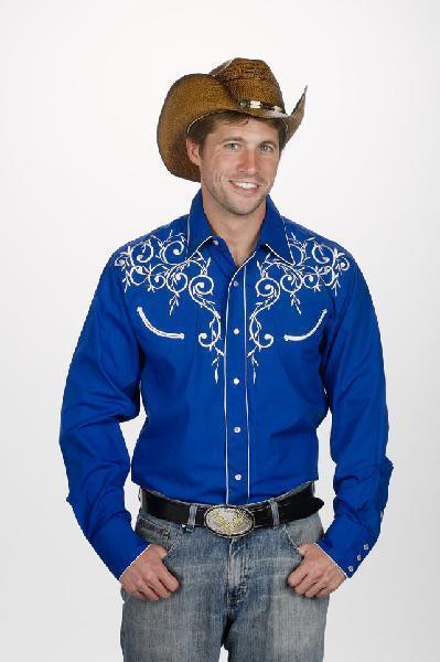 WESTERN COWBOY Retro Mens Long Sleeve Poly Cotton ROYAL blueE DRESS CASUAL SHIRT