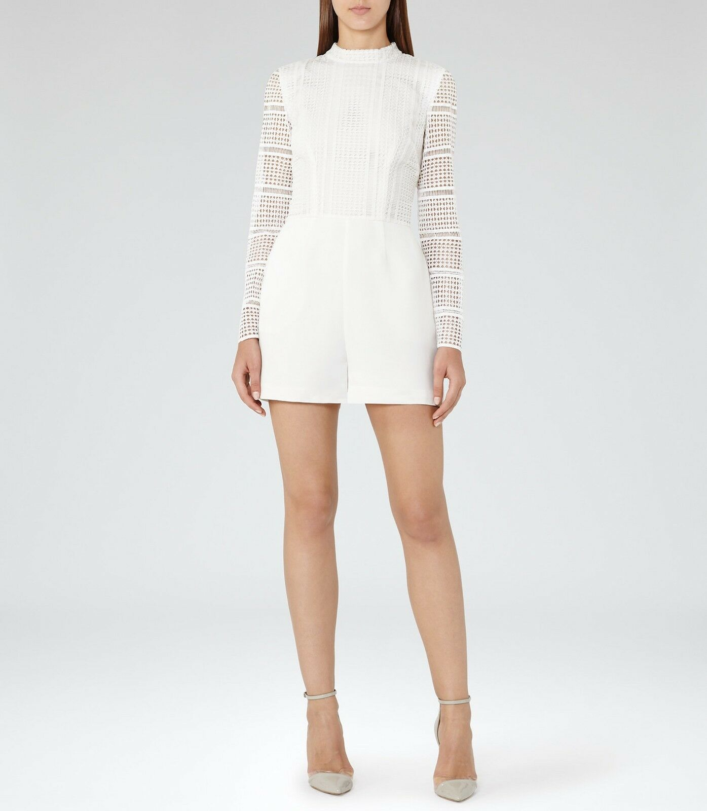 REISS Tabitha Off White Lace-Mix Playsuit Sz US 10 NWT