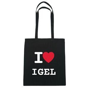 I love IGEL - Jutebeutel Tasche Beutel Hipster Bag - Farbe: schwarz