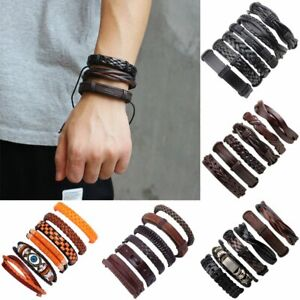 6pcs-Set-Fashion-Mens-Leather-Wrap-Braided-Bracelet-Punk-Wristband-Cuff-Bangle