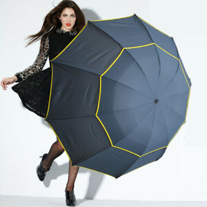 UK-Golf-Umbrella-Automatic-Open-Extra-Large-Wind-Waterproof-Double-Canopy-Vented