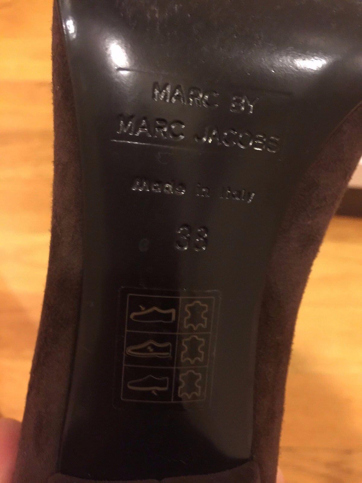 Authentic Marc Jacobs en daim marron foncé foncé foncé en cuir bout pointu talon compensé Talons Taille 8 38 196424