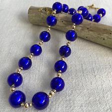 Azul oscuro (Cobalto) Grano De Esfera De Cristal De Murano (14mm) Collar en Oro