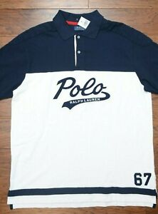 Polo Ralph Lauren Men's Navy Blue/White Cotton Rugby Polo Shirt Big & Tall XLT