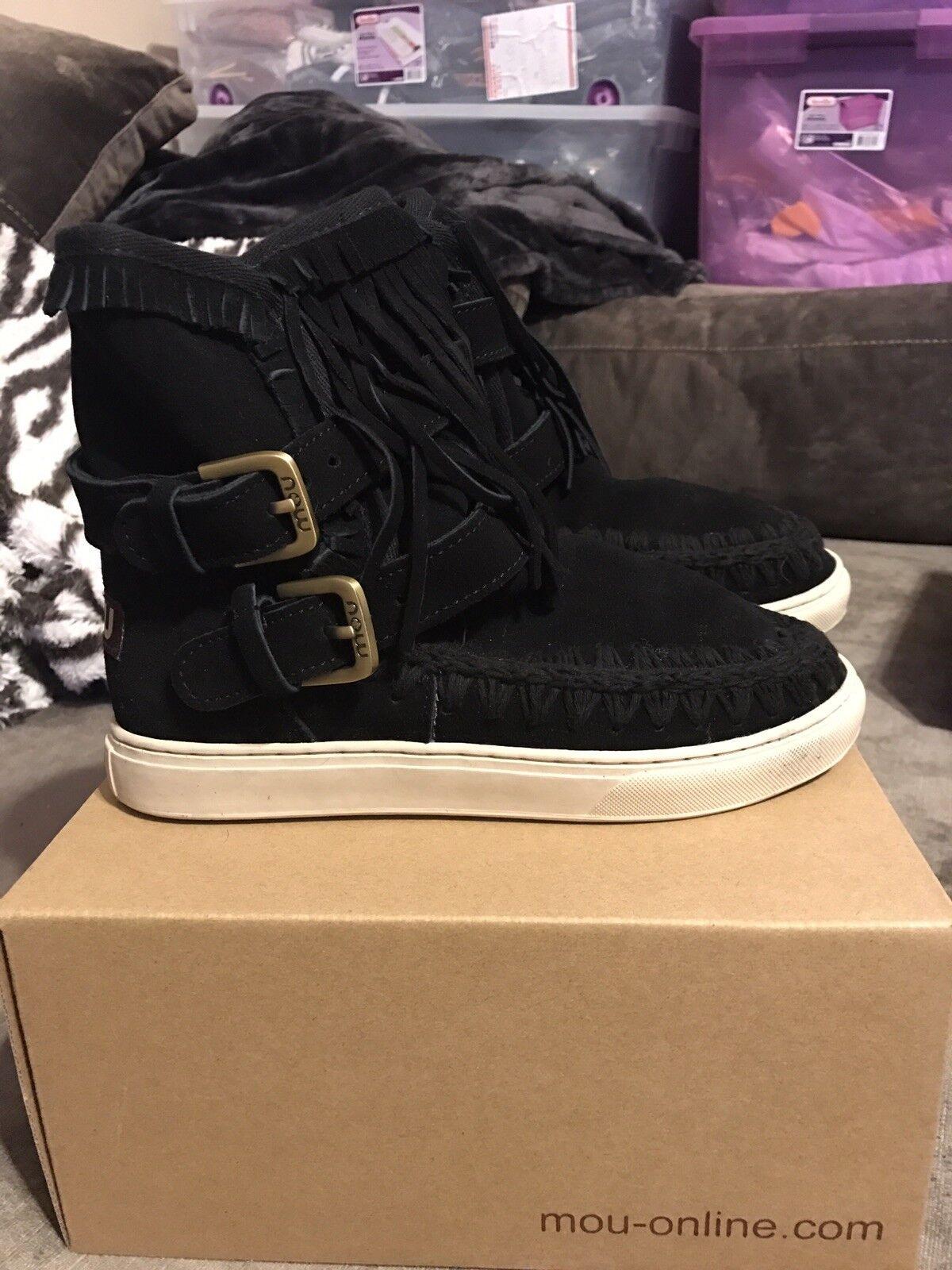 Mou Eskimo Sneaker Boot Fringes & Buckles Buckles Buckles Black Suede 36 38 39 40 All Sizes ef1340