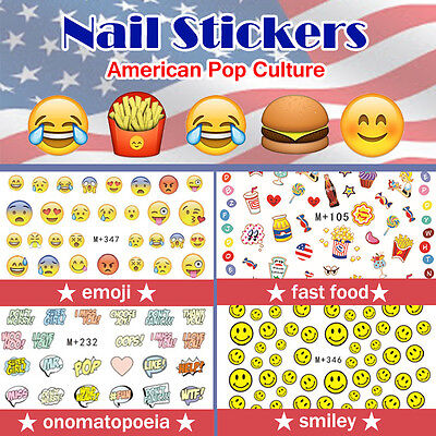 Nail Stickers Water Transfer Summer America emoji Fast Food Smiley  Onomatopoeia | eBay