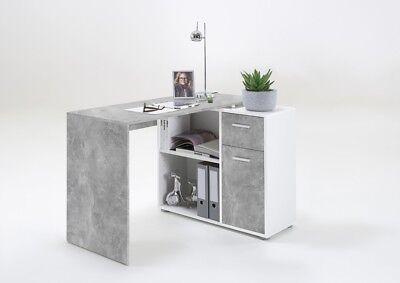 """""""ALBRECHT"""" Multi-configuration Corner Desk with Cupboard/Shelve in Stone & White"""