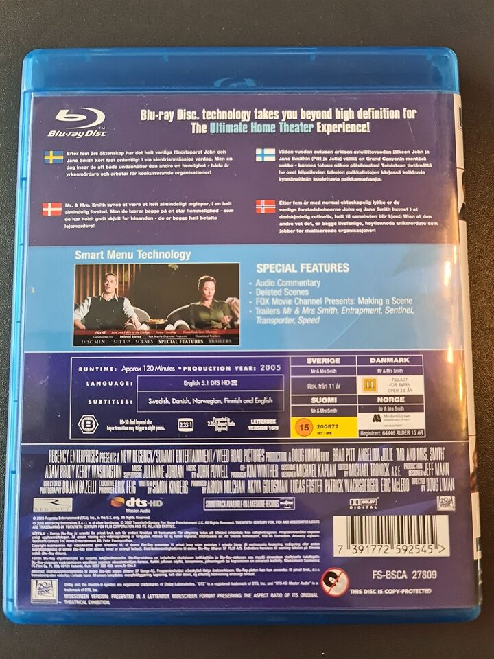Mr. & Mrs. Smith, Blu-ray, action