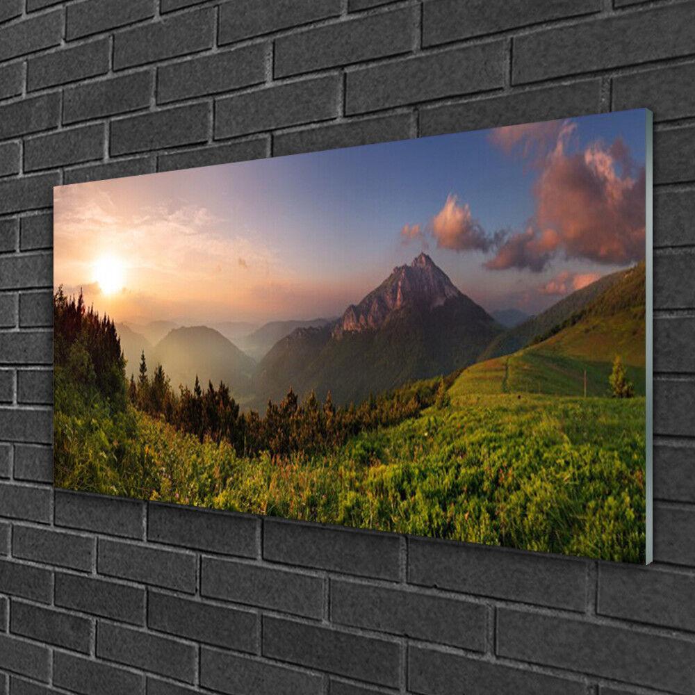 Tableau sur verre Image Impression 100x50 Nature Montagne Forêt