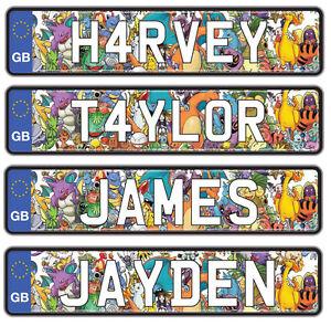 Numero-Personalizado-placas-para-Coche-para-Andar-Jeep-Truck-Nombre-Para-Ninos-Paquete-de-2