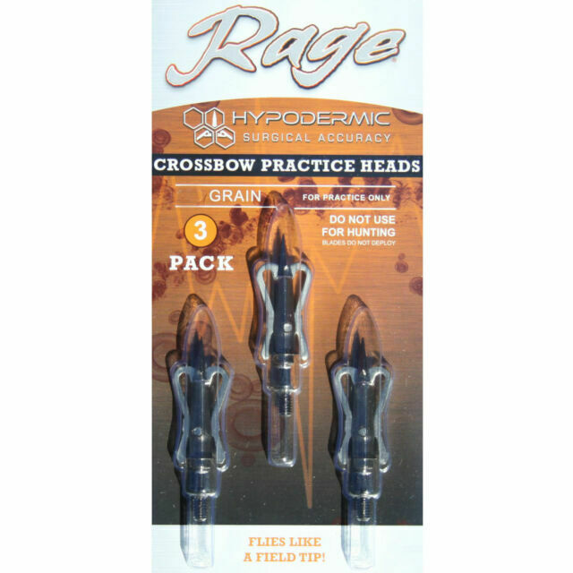 Rage Slipcam Broadheads Free Practice Head 125 Grain 3 Pack 2 Blade 2.0