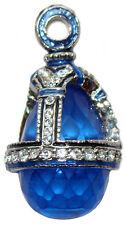 Pendentif style Fabergé, Oeuf pendentif en cristal Bleu Pendentif style Fabergé