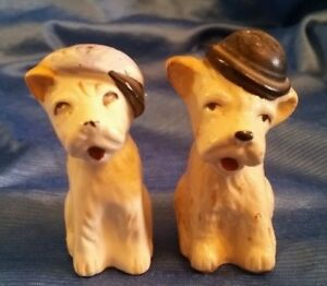 """Salt & Pepper Shakers Porcelain Dog Puppy with Hats Golf Hat 2 3/4"""" Tall Vintage"""