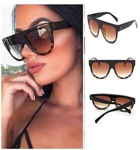 Black-Leopard-Oversized-Shadow-Sunglasses-Flat-Top-Shield-Women-039-s-Ladies-Quality
