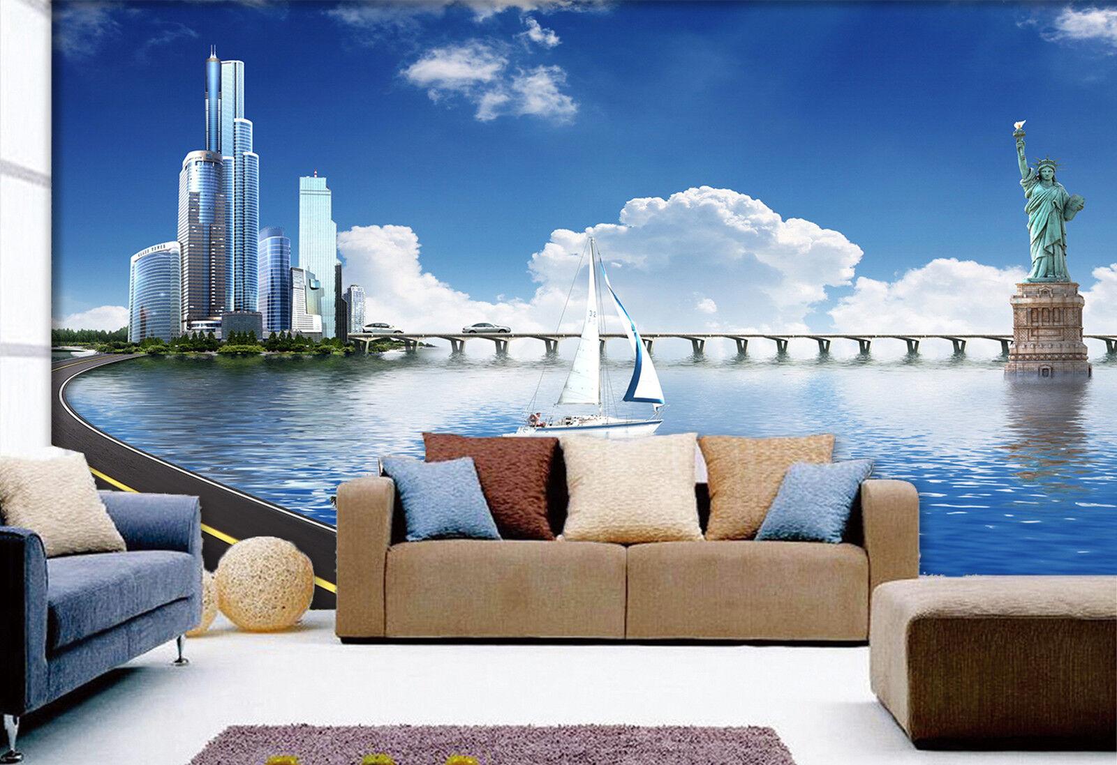 3D Hochhaus  Meer Fototapeten Wandbild Fototapete Bild Tapete Familie Kinder