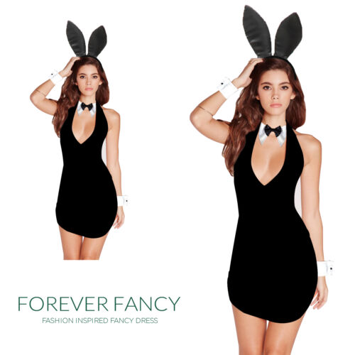 EASTER BUNNY COSTUME BLACK RABBIT OUTFIT WOMAN ANIMAL LADY FANCY DRESS HALLOWEEN