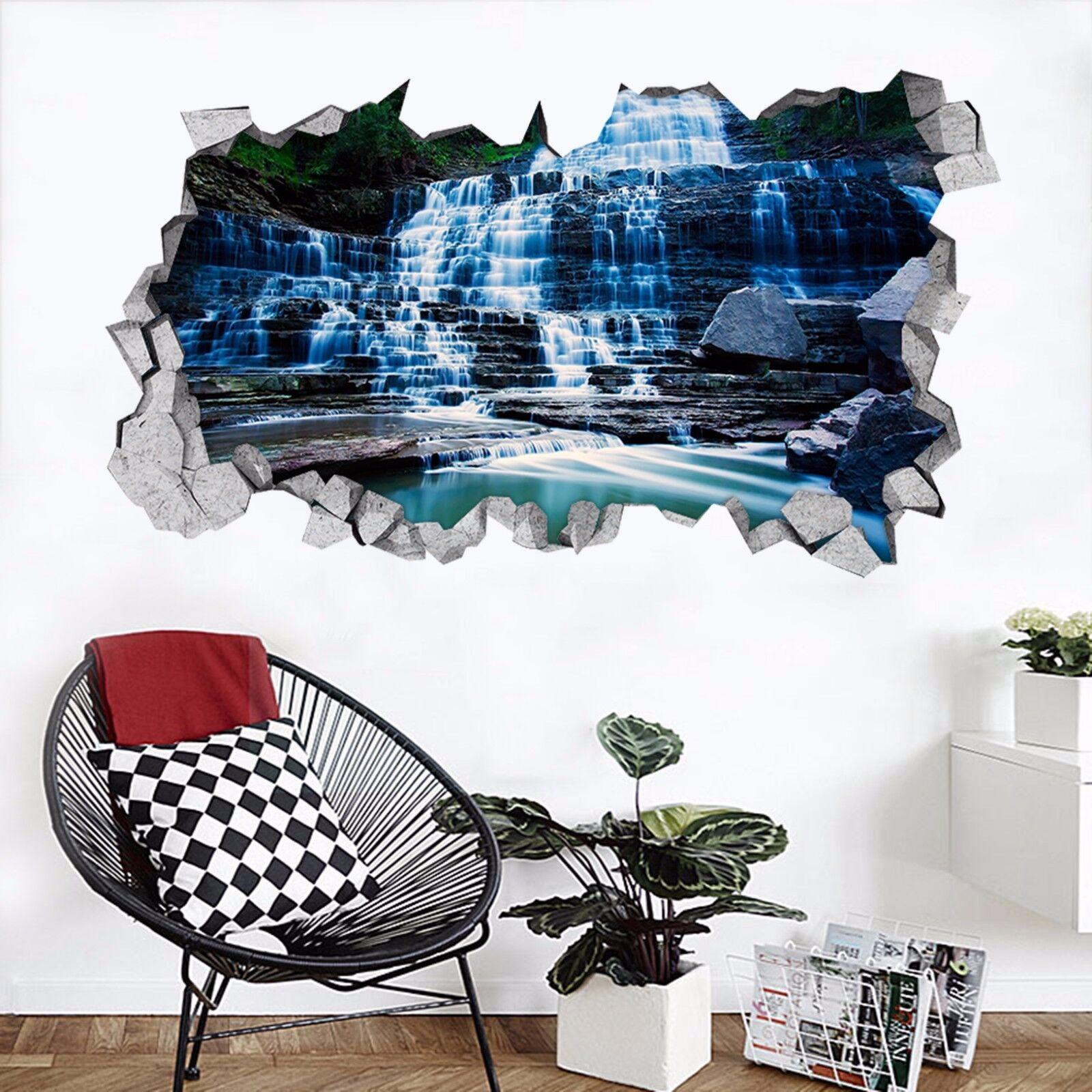 3D Stein Fluss 733  Mauer Murals Mauer Aufklebe Decal Durchbruch AJ WALLPAPER DE