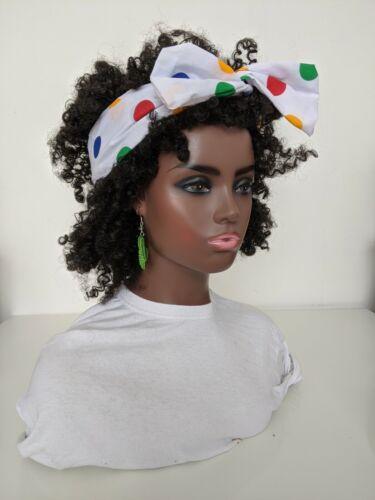 Hand made   Multicoloured Spotty Print Polycotton Head Band Hair Wrap Scarf