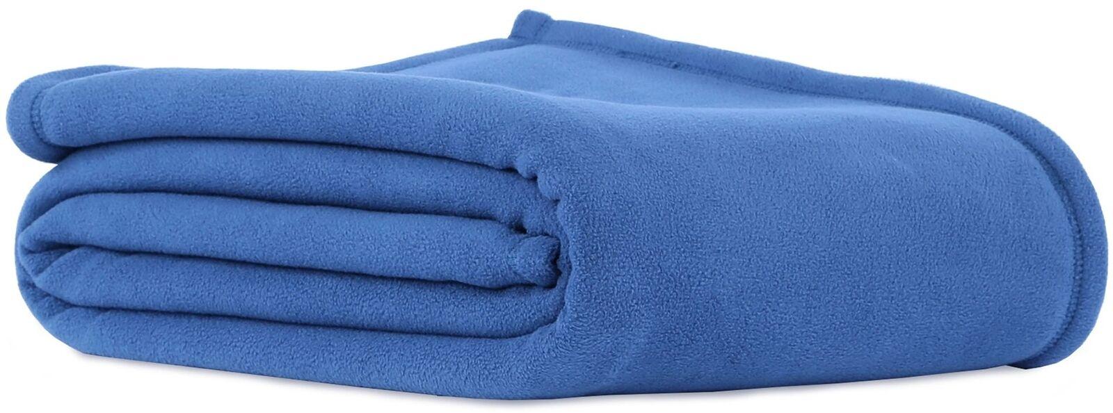 90-in Home Bed Sofa Bedding TWIN Polyester Original Microfleece Blanket bluee