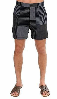 NWT $600 DOLCE & GABBANA Black Striped Patchwork Cotton Linen Shorts IT46 / W30