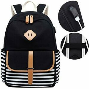 Details About Canvas Travel Laptop Backpacks Womens College Backpack School Bag 15 Black