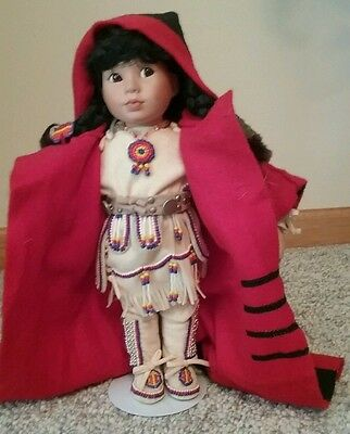 Native American Doll Winter Baby Children of Great Spirit 1993 Red 4 Point Coat