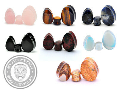 Black Agate Mystic Metals Body Jewelry Set of 3 Pairs Heart Shaped Stone Plugs Rose Quartz Amethyst