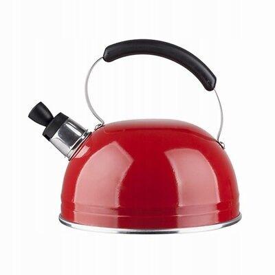 Wasserkessel Wasserkocher Aluminium 3L rot Kessel Pfeifkessel Flötenkessel