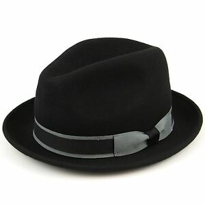 59c6005fc6239 Image is loading Wool-Trilby-Hat-Hawkins-Vintage-Gangster-Fedora-Felt-