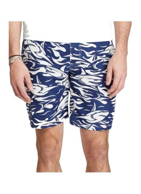 Men/'s Polo Ralph Lauren Traveler Shark Print Blue Swim Trunks Beach Board Shorts