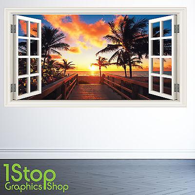 PARADISE BEACH WALL STICKER FULL COLOUR LOUNGE BEDROOM WINDOW W136