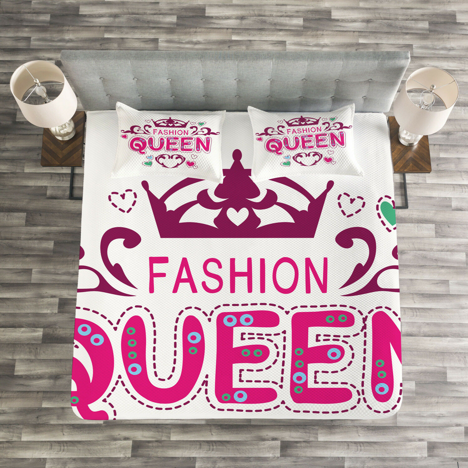 Queen Quilted Bedspread & Pillow Shams Set, Fancy Girlish Fashion Print