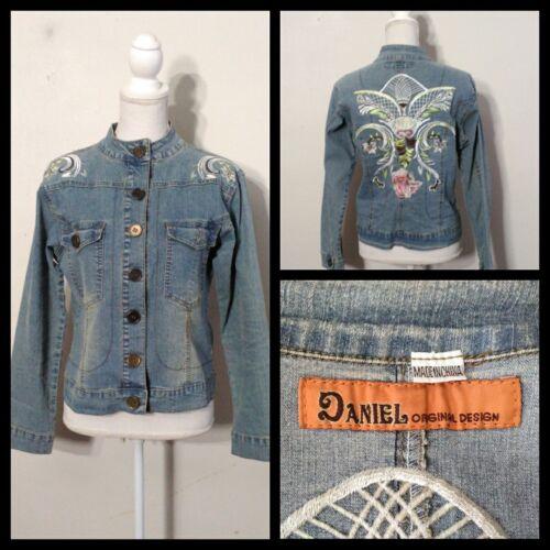 Jacket Denim knopen met Med Women's s8888 grote Inv Bloemenborduurwerk Daniel wT6dqRn5w