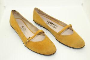 SALVATORE FERRAGAMO women shoes sz 7C Europe 37 ocher suede S8268