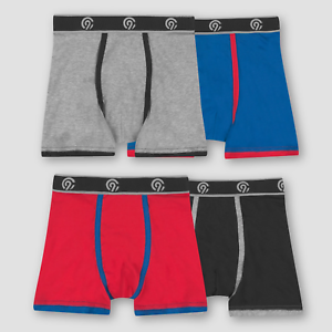 C9 Champion Boys 4pk Stretch Boxer Briefs Red Gray Black Blue NWT