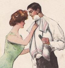 Easy Shave Shaving Lather Tube Advertising Trade Card Antique Hair Barber Lady