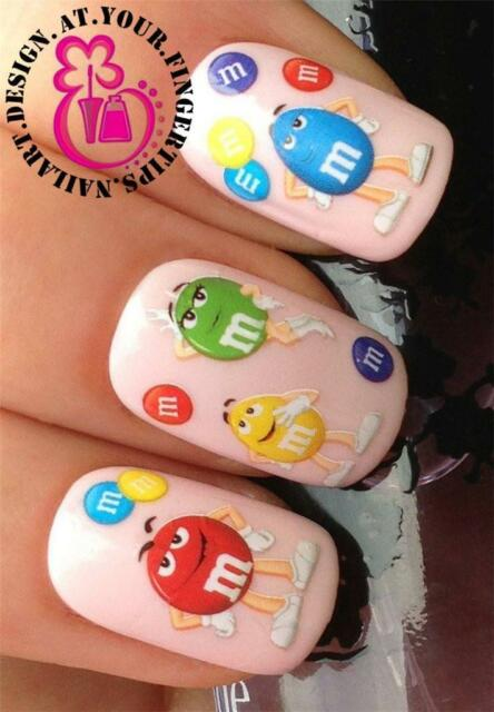 NAIL ART WATER TRANSFERS/STICKERS/DECALS CHOCOLATE/PEANUT FIGURES SWEETS #473