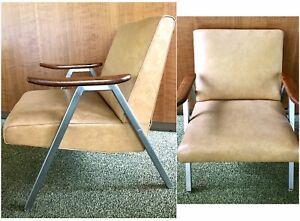 Vtg-MCM-Royal-Chrome-Metal-Chair-Aluminum-Club-Lounge-Vinyl-Naugahyde-Deco